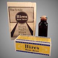 Vintage Hires Root Beer Extract - Original Sample Package & Bottle