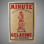 Vintage Minute Gelatine Miniature Product Sample Box - Nice Graphics