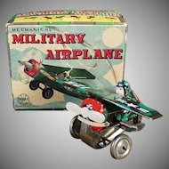 Vintage Marx Wind-up Toy Plane - Mechanical Military Airplane with Original Box