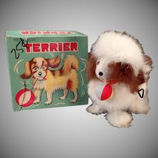 Vintage Wind-up Alps Toy Dog - Rabbit Fur Terrier with Original Box