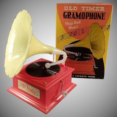 Vintage Old Timer Toy Gramophone Music Box with Original Box