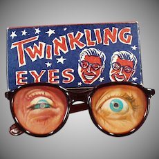 Vintage Flicker Toy Eyeglasses - Twinkling Eyes Glasses with Original Box