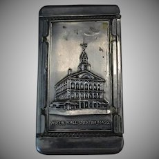 Vintage Boston Souvenir Vesta Case or Match Holder - Bunker Hill & Faneuil Hall