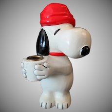 "Vintage 7 ½"" Snoopy Hallmark Candle Holder – 1970's United Features Syndicate"