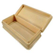 Vintage Vegetable Ivory Dresser Box - Hinged Lid – Marked England