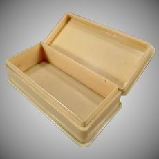 Vintage Vegetable Ivory Dresser Box - Hinged Lid – Marked England