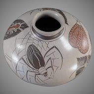 Interesting Mexican Pottery Bowl - Spider and Insect Motif with Muted Tones