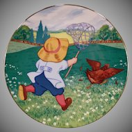Vintage Blue-Button Twins Plate - Helen Nyce Bobby and the Rooster