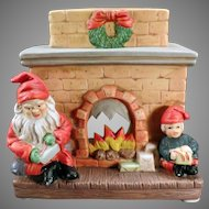 Vintage Christmas Candle Lamp with Santa Claus and Elf at Fireplace