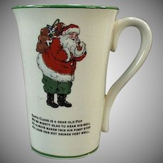 Vintage Humoresque Mug with Santa Claus and Christmas Poem
