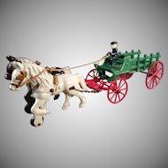 Vintage Kenton Cast Iron Horse Drawn Stake Wagon Toy - Nice Original Paint