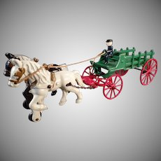 Vintage Kenton Cast Iron Horse Drawn Stake Wagon Toy - Nice Original Paint