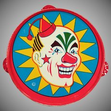 Vintage Tin Toy Tambourine - Colorful Old Noise Maker with Laughing Clown