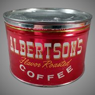 Vintage 1# Key Wind Albertson's Coffee Tin - Very Nice Advertising