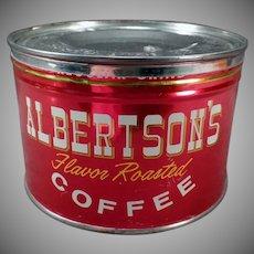 Vintage 1# Key Wind Albertson's Coffee Tin - Very Nice Advertising