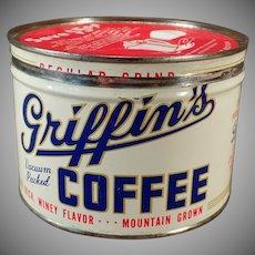 Vintage 1# Key Wind Griffen Coffee Tin - Muskogee, Oklahoma