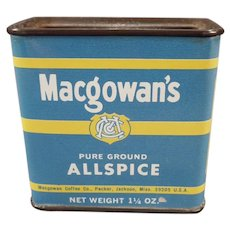 Vintage Macgowan's Allspice Spice Tin with Old Coffee Advertising
