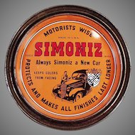 Vintage Simoniz  Automotive and Furniture Wax Tin - Automotive Advertising