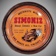 Vintage Simoniz  Automotive and Furniture Wax Tin - Automotive Advertising