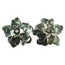 Funky Vintage Costume Jewelry Clip Earrings - Large Flowers with Rhinestones