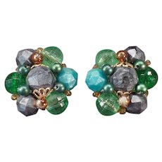 Vintage Costume Jewelry Clip-on Earrings – Green and Gray Beads - German