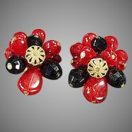 Vintage Costume Jewelry Clip Earrings - West German - Red and Black Glass Beads