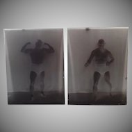 Two Vintage Glass Plate Negatives with Wrestler Tony Catalano plus Boise Newspaper Clipping