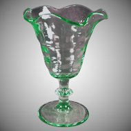 Vintage Soda Fountain Stemmed Tulip Sundae Dish in Green Glass - 4 Available