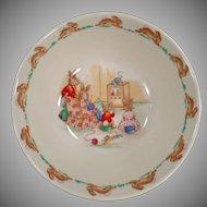 Vintage Royal Doulton - Old Bunnykins Series Bowl with T.V. Time Design