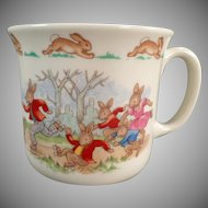 Vintage Royal Doulton - Old Bunnykins Series Child's Mug with Roller Skating Theme