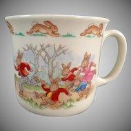 Vintage Royal Doulton - Old Bunnykins Series Child's Mug with Roller Skating Theme