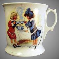 Vintage Shaving Mug with Buster Brown and Mary Jane - German Porcelain Mug