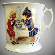 Vintage Shaving Mug with Buster Brown and Mary Jane - German Porcelain Mug
