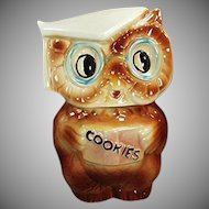 Vintage American Bisque Collegiate Owl Cookie Jar - 1958