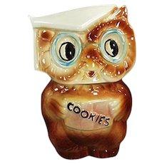 Vintage American Bisque Collegiate Owl Cookie Jar - 1958