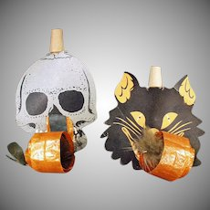 Vintage Halloween Whistle Black Cat and Skull Noise Makers