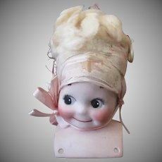 Vintage German Bisque Kewpie Shoulder Head Doll with Original Bonnet