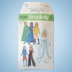 Vintage Simplicity Doll Clothes Pattern #9698 – Crissy, Velvet and Other Teen Dolls