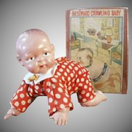 Vintage Wind-up Celluloid Crawling Baby Doll with Original Box