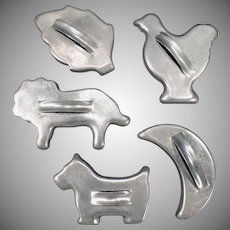 Five Vintage Aluminum Cookie Cutters -  Assorted Cutters including 3 Animals
