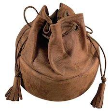 Vintage Leather Collar Case - Old Drawstring Bag for Men's Starched Collars