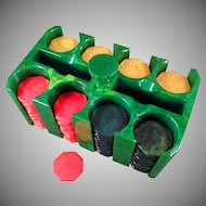 Vintage Green Catalin Poker Chip Rack with 200 Octagon Bakelite Chips