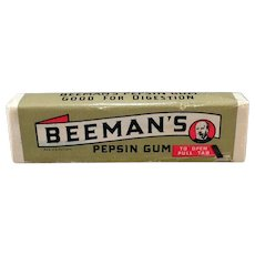 Vintage Beeman's Chewing Gum - Package of 5 Sticks Never Opened – 1940's