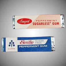 Two Sticks of Vintage Sugarless Chewing Gum from the 1960's