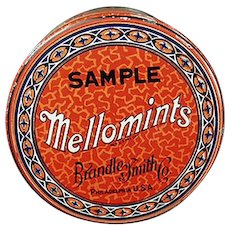 Vintage Sample Candy Tin - Brandle Smith Mellomints Tin