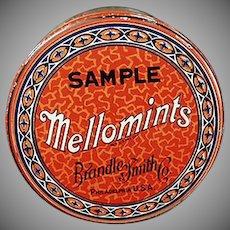 Vintage Sample Candy Tin - Brandle Smith Mellomints Tin