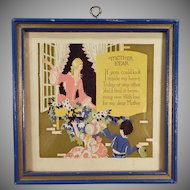 Vintage Motto Print - Mother Dear Poem and Colorful Image - Blue Frame