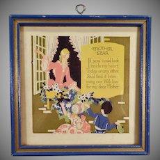 Vintage Motto Print - Mother Dear Poem and Colorful Image - Blue Frame