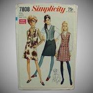 "Vintage #7808 Simplicity Pattern - 1960's Mod Skirt & Vest - Miss 8 - Bust 31 1/2"""