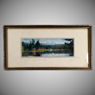 Hand Tinted Vintage Photograph - Old Framed Standley Photo of Grand Lake Colorado